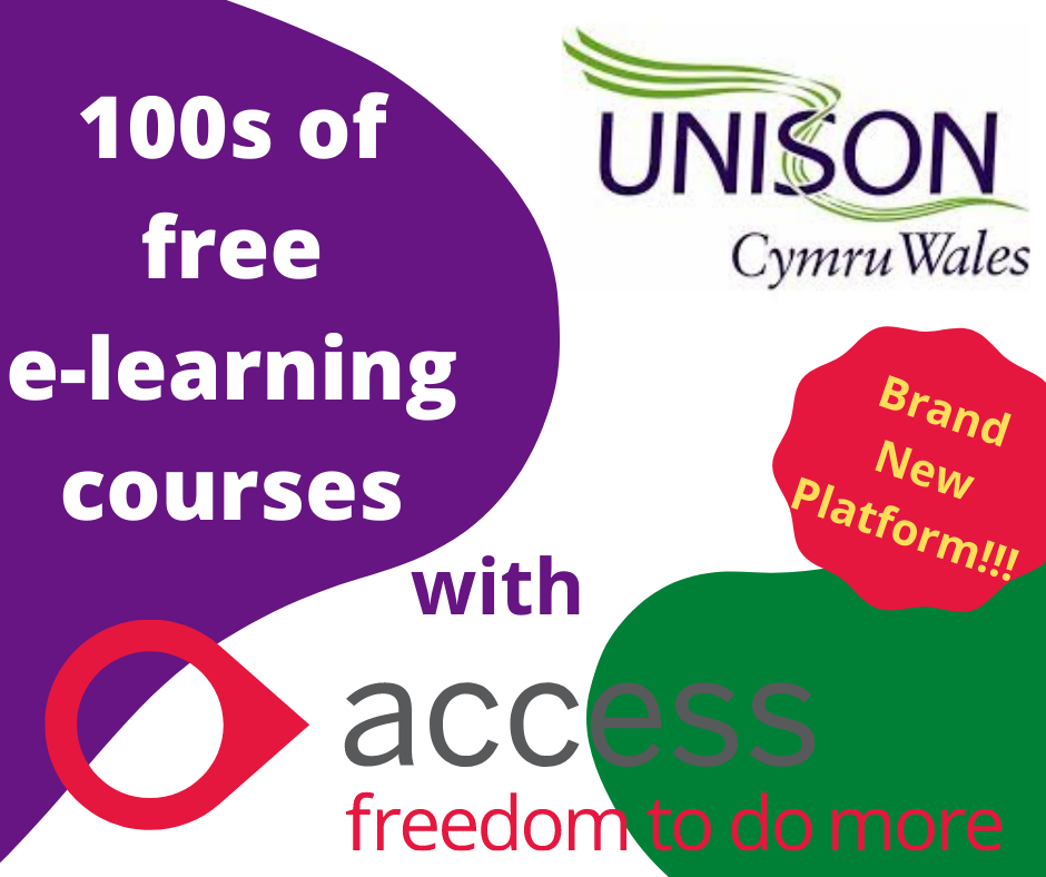 Advert for UNISON Cymru Wales and Access eLearning site